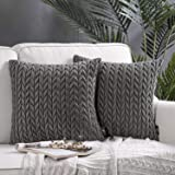Phantoscope Pack of 2 Quilt Velvet Throw Pillow Covers Square Cushion Cover Pillowcase for Couch Bed and Chair, Dark Grey 18
