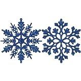 Sea Team Plastic Christmas Glitter Snowflake Ornaments Christmas Tree Decorations, 4-inch, Set of 36, Blue