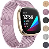 HAPAW Metal Bands Compatible with Fitbit Sense/Versa 3, Breathable Stainless Steel Replacement Sport Bracelet Strap Wristband