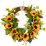 (35cm, Yellow Sunflower) - Artificial Sunflower Wreath Flower Wreath with Yellow Sunflower and Green Leaves for Front Door In