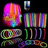 "Glow Sticks Bulk 400 8"" Glowsticks (Total 800 Pcs 7 Colors); Glow Stick Bracelets; Glow Necklaces Light Up July 4th Halloween"
