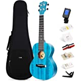 Enya Concert Ukulele 23 Inch Blue Solid Mahogany Top with Ukulele Starter Kit Includes Online Lessons, Case, Strap, Strings,