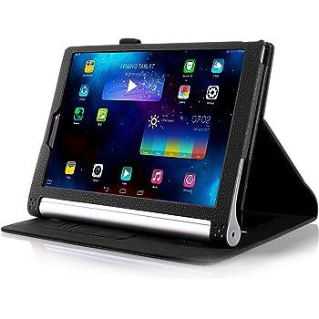 【全4色】IVSOオリジナルLenovo Yoga Tablet 2 10インチ (2014 Oct Release) (Lenovo Yoga Tablet 2 10インチ だけ 適用) 専用PUレザーケース 超薄型 最軽量 内包型 (ブラック)