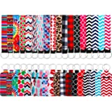 18 Pieces Chapstick Holder Keychains with 18 Pieces Neoprene Wristlet Keychain Lanyards, Vibrant Colors Neoprene Lip Balm Key