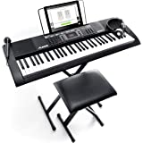 Alesis Melody 61 MKII - 61-Key Portable Keyboard with Built-In Speakers, Headphones, Microphone, Piano Stand, Music Rest and
