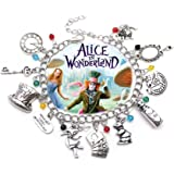Alice in Wonderland 11 Themed Charms Silvertone Metal Charm Bracelet