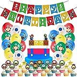 HAFTSS マリオ 誕生日 飾り付け ゲーム キャラクター ハッピーバースデー バルーン 誕生日 子供の日プレゼント 誕生日 風船 バースデー 飾り バースデーバルーン