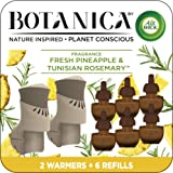 Air Wick Botanica Plug in Scented Oil Starter Kit, 2 Warmers + 6 Refills, Fresh Pineapple and Tunisian Rosemary, Air Freshene