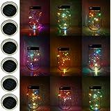 6 Pack Mason Jar Lights, 10 LED Solar Colorful Flicker Fairy String Lights Lids Insert for Garden Deck Patio Party Wedding De