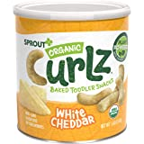 Sprout Organic Baby Food, Sprout Organic Curlz Toddler Snacks, White Cheddar, 1.48 Ounce Canister (Pack of 1), Plant Powered,