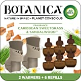 Botanica by Air Wick Plug in Scented Oil Starter Kit, 2 Warmers + 6 Refills, Caribbean Sweetgrass and Sandalwood, Air Freshen