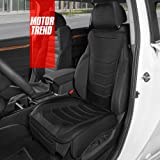 Motor Trend LuxeFit Black Faux Leather Car Seat Cover for Front Seats, 1 Piece – Padded Universal Fit Luxury Cover, Faux Leat