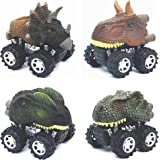 Dinosaur Toys, Pull Back Dinosaur Cars, Toys for 3 4 5 6 Year Old Boys, DIDUBUY 4-Pack Toys Set with Big Tire Wheel for Kids