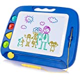 (Blue-4 Color Zone and 3 Stamp) - SGILE Non-Toxic Big Magnetic Erasable Magna Doodle Drawing Board Toy, Assorted Colours Writ