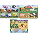 Melissa & Doug Wooden Peg Puzzles Set - Farm, Safari, and Vehicles