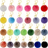 BQTQ 26 Pieces Pom Pom Keychains Rabbit Faux Fur Pom Pom Balls Fluffy Pom Poms with Keychain Hooks for Women Girls Bag Access