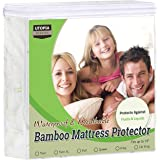 (Twin) - Waterproof Bamboo Mattress Protector - Hypoallergenic Fitted Mattress Cover - Breathable Cool Flow Technology - Viny