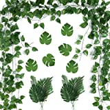 PP OPOUNT 78 Feet 12 Strands Artificial Ivy Leaf Plants Vine Garland and 24 Pieces Artificial Palm Leaves for Home Wall Garde