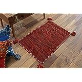サヤンサヤン 手織り キリム調 エスニック 玄関マット 室内 屋内 キーマ 50x80 レッド