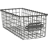 Spectrum Diversified Vintage Wire Basket, Steel Storage Solution Bin for Kitchen Pantry, Closet, Bathroom, Craft Room & Garag