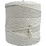 Macrame Rope 4mm 260 m (1,5 kg) - Natural Cotton Cord - 3PLY Strong Cotton String - Knitting, Crochet, Macramé - Handbag, Han