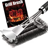 Grill Brush and Scraper - Quick Easy Safe BBQ Grill Steam Cleaning Stainless Steel Brush - Best for Weber Gas, Charcoal, Porc