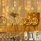 星ムーン カーテンライト 星月イルミネーションライト 防水スターライト 138LED USB式、電池式二重電源供給 LEDフェアリーランプ リモコン付き 8種類の切替モード 星ムーン デコレーション 屋内屋外飾り クリスマス/結婚式/誕生日/パーティ