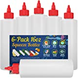 6-pack Plastic Squeeze Condiment Bottles 16-Ounce with Red Twist-Cap Set of 6 16-oz (Perfect for Syrup, Sauce, Ketchup, BBQ,