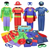 Teuevayl Boys Muscle Chest Dress up Costumes Trunk with Superhero, Policeman, Fireman Costume, Kids Pretend Role Play Costume