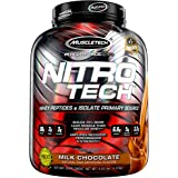 NitroTech Protein Powder Plus Creatine Monohydrate Muscle Builder, 100% Whey Protein with Whey Isolate, Milk Chocolate, 40 Se