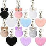 12 Pcs Pompoms KeyChain Fluffy Ball Key Chains Heart Pompom Keyrings
