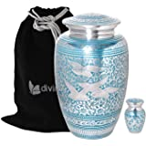 Divinityurns Wings of Love Blue & Silver Cremation Urn - Metal Cremation Urn - Handcrafted and Affordable Large Urn for Human