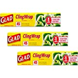 Glad Wrap Plastic Wrap - 3 Pack Bulk Plastic Cling Wrap Rolls Freezer Wrap Food Organizer (Food Wrapping Plastic)