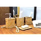 KLEO - Bathroom Accessory Set Made from Natural Brown Stone - Bath Accessories Set of 4 Includes Soap Dispenser, Toothbrush H