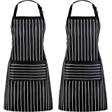 Puroma 2 Pack Adjustable Bib Apron Waterdrop Resistant with 2 Pockets, Unisex Cooking Kitchen Aprons for Women Men Chef Coupl