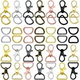 70 Pieces Keychain Hooks and D Rings Swivel Snap Hooks Lobster Claw Clasps D Keychain Ring Lanyard Snap Hooks for Purses Keyc