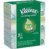 Kleenex Soothing Lotion Facial Tissues, 3 Flat Boxes, 110 Tissues per Box (330 Tissues Total), Coconut Oil, Aloe & Vitamin E