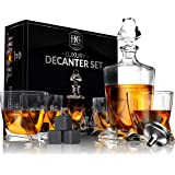 Premium Glass Decanter Set, Whiskey Decanter Set 4 Liquor Glasses, Mens Gift 9 Cooling Whisky Stones and Funnel for Rum, Scot