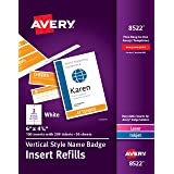 """Avery Vertical Name Badge & Ticket Inserts, 6"""" x 4-1/4"""", 100 Inserts (8522)"""