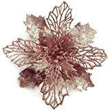 GL-Turelifes Pack of 12 Glitter Artificial Poinsettia Flowers Christmas Wreath Christmas Tree Flowers Ornaments 6''(16cm) Dia