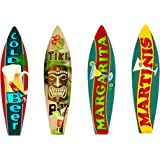 Bundle: Surfboard Wall Art Decor, Metal Drinks Beach Signs - Cold Beer Surfboard Sign, Tiki Bar Surfboard Sign, Margarita Sur