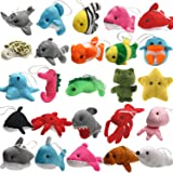 25 Pack Mini Ocean Animal Plush Toys,Sea Creatures Stuffed Toy for Kid Party Favor,Small Keychain Decoration for Christmas Tr
