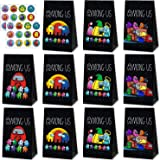 24 Packs Among Us Gift Bags with 24 Pcs Stickers Among Us Party Favors Cookies Candy Gift Bags Party Supplies for Kids Game F