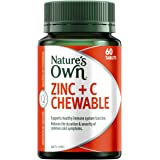 Nature's Own Zinc + C Chewable - Supports healthy immune system function - Maintains skin health, 60 Tablets