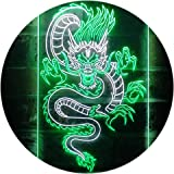 Chinese Dragon Room Display Dual Color LED Neon Sign White & Green 300 x 400mm st6s34-i3225-wg