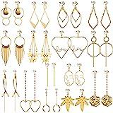 Aganippe Gold/Silver Clip on Earrings for Women Fashion Clip on Hoop Dangle Drop Earrings for Teens Girls Non Piercing Earrin