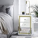 Artiss Mirrored Bedside Table, 3-Drawer Side Table, Sivler & Gold