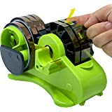 """Multi-Roll Semi-Automatic Desk Tape Dispenser - Cut Multiple Tapes to 1.5""""L at Once, On/Off Manual Cutter, 2 Cores (1"""", 3"""" Di"""