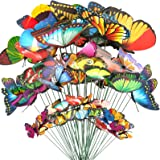 Teenitor Butterfly Garden Stake, 5 Different Size Butterfly Stakes Garden Ornaments & Patio Decor Butterfly Party Supplies Ga