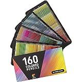 Zenacolor160色色鉛筆(番号付き)- 使い勝手の良さ - 大人・子供用プロ並み色鉛筆セット - 大人向け塗絵、マンダラ、学習用・新学期用に最適